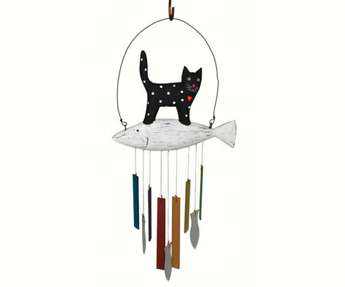 Gift Essentials Wood and Glass Cat Wind Chime GEBLUEG484