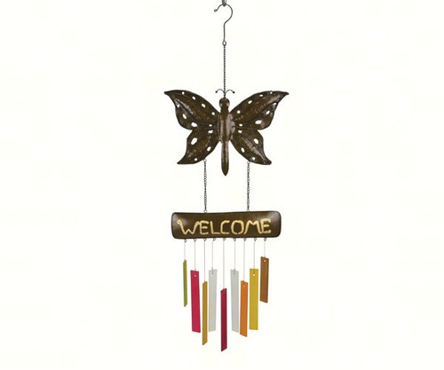 Gift Essentials Rustic Welcome Butterfly Wind Chime GEBLUEG546