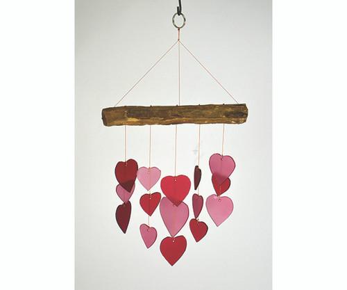 Gift Essentials Pink & Red Heart Driftwood Wind Chime GEBLUEG562