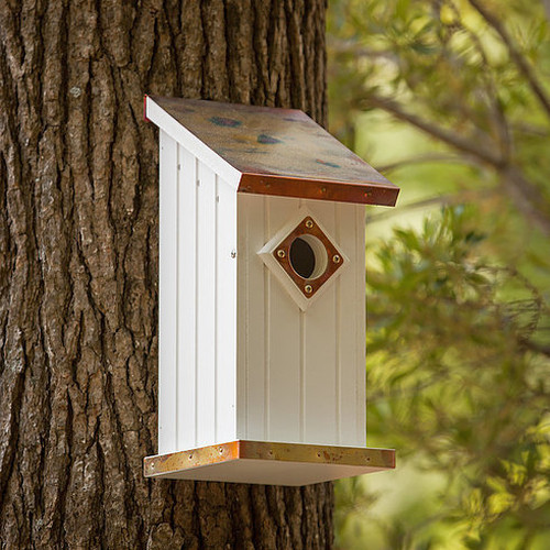 """Fancy Home Products Copper Top Blue Bird House with Predator Guard 7""""L x 6""""W x 14.5""""H"""