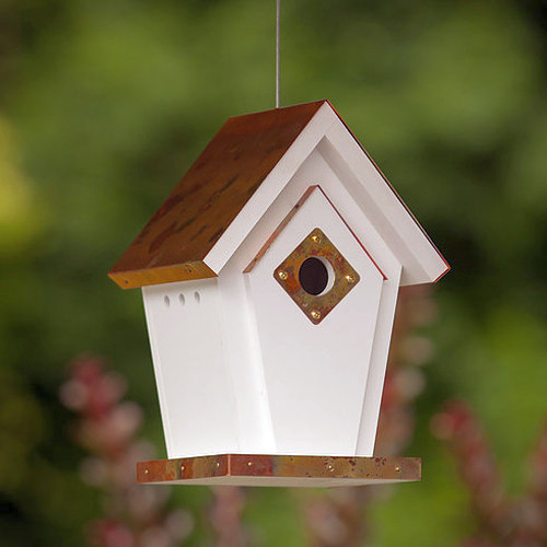 Fancy Home Products Copper Top Hanging Wren Bird House with Predator Guard ( FHBH4FCW)
