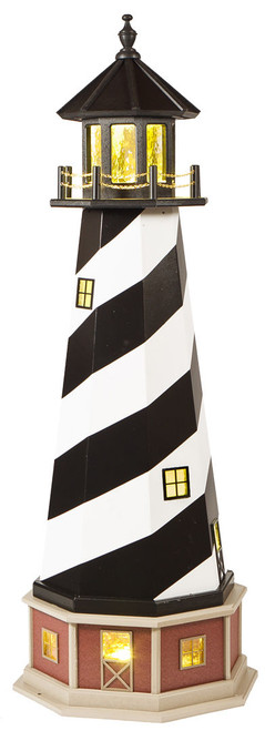 Amish Made 56 in. Cape Hatteras Lighthouse Replicas 25 watt Light Wood & Poly Hybrid