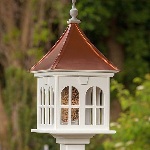 "Fancy Home Products 14"" Double Window Gazebo Birdfeeder w Bright Copper Roof (BF14-SQ-DW-BC)"