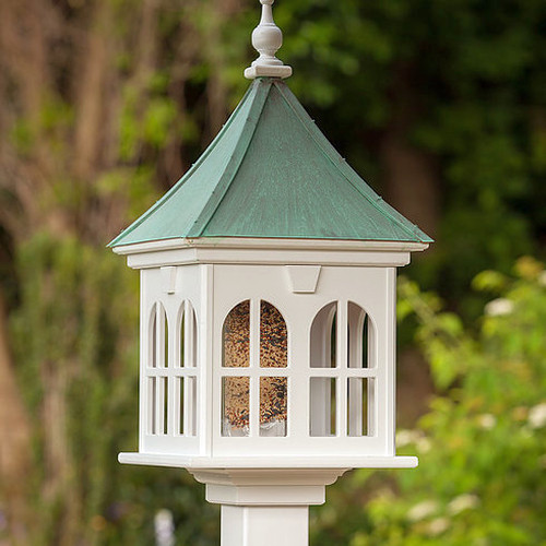 """Fancy Home Products 14"""" Double Window Gazebo Birdfeeder With Patina Copper Roof"""