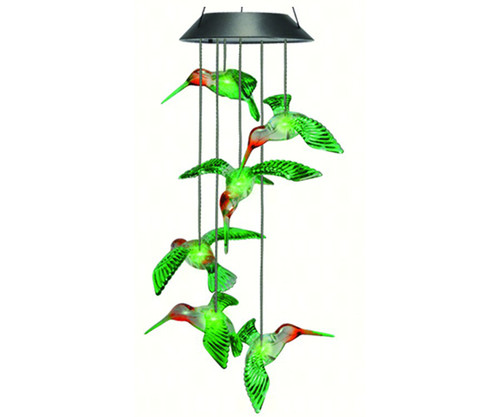 "Solar LED Illuminated Painted Hummingbird Mobile 6"" x 6"" x 25""   MFHBPTDMOB"