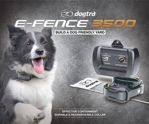 Dogtra's eF3500 containment system is an effective underground containment system with a rechargeable collar for mild to stubborn dogs.  Set custom boundaries around your property and allow your dog to be safe in your yard.  Contain your dog without the use of conventional fencing that can be chewed through, jumped over or dug under. The Dogtra e-Fence 3500 system includes 500 feet of boundary wire and 50 training flags. Purchase Dogtra Expansion kits to enclose larger areas. You may also add extra E-Fence Collars to contain an unlimited number of dogs.