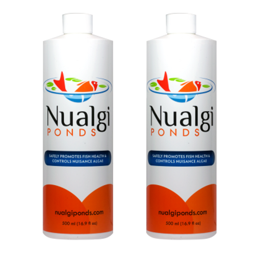 Nualgi Ponds Fish Health and Algae Control 1000 ml Safe For Fish Plants Birds and Pets 2 x 500 ML Containers  Nualgi has a 3 year shelf-life! Nualgi ponds has been developed specifically to starve nuisance algae, reduce foul odors, and increase oxygen levels in your pond. Nualgi promotes greater fish and plant health while keeping the water crystal clear. Enjoy your new habitat and show off your pond as your fish become more active and your plants gain more color. What is NUALGI? based on over 15 years of research, Nualgi is the fourth generation of a patented nano-silica-based micro-nutrient supplement for all types of ponds, lakes & water gardens. Based on 9 years of lab research and 8 years of field research for applications in commercial and municipal water management. The Nualgi formula specifically helps pond owners improve water quality and manage algae on a much smaller scale. How does it work? within 3 – 5 hours of applying Nualgi ponds, a bloom of diatom algae (the good kind!) will develop. The diatom algae bloom out-competes nuisance algae for co2, n, p and other nutrients, causing the bad algae to die off. It then locks away some of the harmful nutrients in the new bio mass that is consumed as live food for your fish and zooplankton. By kick-starting this natural process, the diatom algae out-compete the nuisance algae for nutrients, thus starving and eventually eliminating the bad algae from your tank! 125ml sized bottle is good for ponds sized under 5,000 gallons.      Eliminate nuisance algae & get crystal clear water - without an algaecide!     Safe for fish, plants & all types of ponds & water gardens     Safely improves water quality and balances the nitrogen cycle in your pond to reduce algae, maintenance and bad odors     Improves fish health, color & activity     Improves aquatic plant growth & coloration