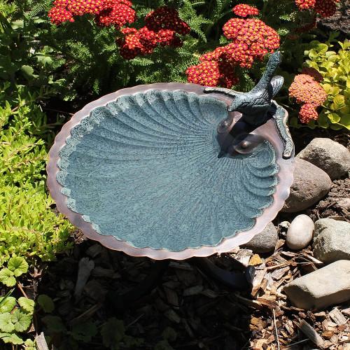 Achla Designs Scallop Shell Birdbath and Bird Feeder Bowl