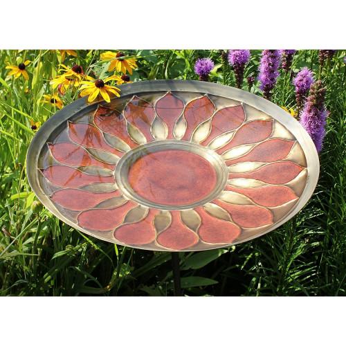 Achla Designs Solid Brass Red African Daisy Birdbath Bowl BB-09R