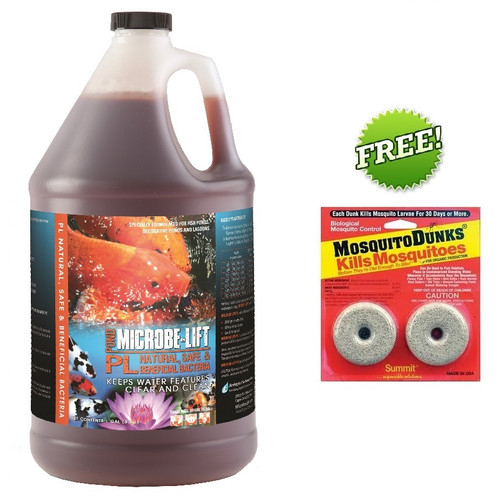 Microbe Lift PL 1 gal Koi Pond Clarifier 10PLG4 Beneficial Bacteria + FREE Mosquito Dunks