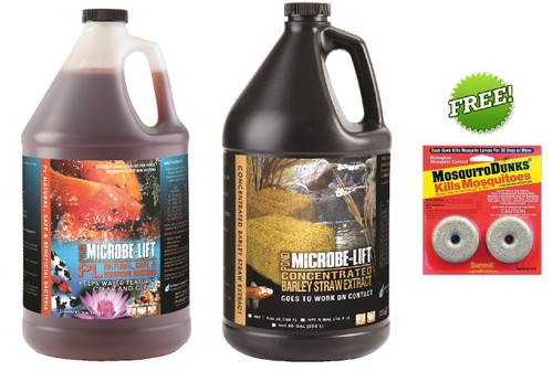 Microbe Lift PL 1 gal Koi Pond Clarifier 10PLG4 Beneficial Bacteria & 1 Gallon Barley Straw Extract + Free Mosquito Dunks