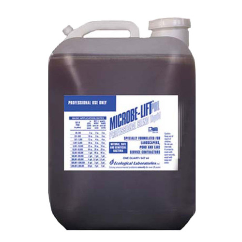 Microbe-Lift Professional is a blend of microbes that contain specifically formulated strains of bacteria manufactured for use by landscape, irrigation and pond professionals. PBL is a combination of 3 products: PL 80%, Ensure 10% and TheraP 10%. The Ensure is for plants and TheraP is for fish. Designed for professional service people so they don't have to carry 3 bottles from pond to pond.  The microbes in Professional Blend will help do the following: •Keeps your ponds clean and clear •Reduces ammonia and nitrogen levels •Seeds and maintains biological filters •Remains effective over a wide range of pH conditions •Reduces buildup of bird droppings, fish food and dead leaves •Significantly reduces noxious odors.