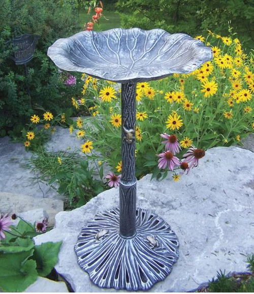 Oakland Living Antique Pewter Lily Birdbath OAA1366