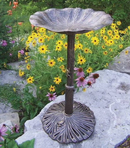 Oakland Living Antique Bronze Lily Birdbath OAA1366