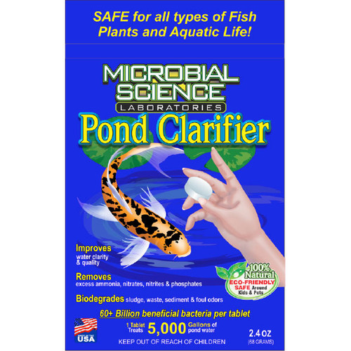 Microbial Science Laboratories Pond Clarifier Tablets 2.4 oz. Package (MSL82) •Improves Water Clarity and Water Quality  •Removes Excess Ammonia, Nitrite, Nitrate and Phosphate  •Biodegrades Sludge, Waste and Sediment  •Quickly Seeds the Biological Filter in the Spring  •Over 60 Billion Beneficial Bacteria per Tablet  •1 Tablet Treats 5,000 Gallons of Pond Water  •Treat Monthly for Best Results  •Natural & Organic – Safe for Fish, Plants and Other Aquatic Life.
