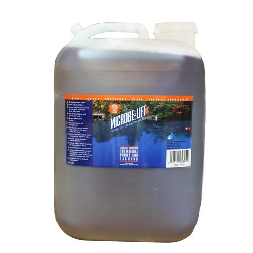 Microbe Lift HC High Count Concentrated Pond Benificial Bacteria 5 Gallon 10HCX5G Specifically designed for natural ponds. Creates a healthy environment for your pond, breaks down organic sludge and slime, reduces ammonia and nitrite levels and more. This proprietary formulation for larger rural lakes and ponds assists in the reduction of ammonia nitrogen levels, reduces odors and breaks down organic sludge.