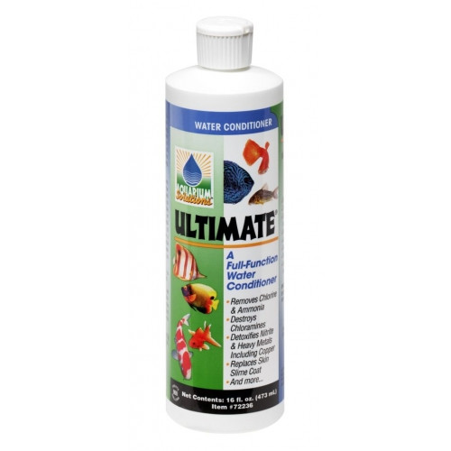 "Hikari Ultimate Pond Solutions Full Function Pond Water Conditioner 16 oz.72336 This is the world's first full-function water conditioner. With everything you need in one bottle to maintain a superior environment for your aquatic pets. For new setups Ultimate® instantly ""ages"" water allowing you to enjoy your pets in action quicker without fear of the negative impact of toxic chloramine, ammonia, chlorine, heavy metals or nitrite."
