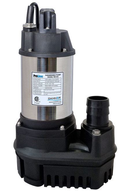 """Pondmaster ProLine High-Flow Submersible Water Pump 1/4 HP with 1-1/2"""" and 2"""" barbed fittings  90103"""