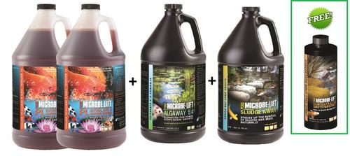 Microbe-Lift PL 2 x 1 gl +Algaway 5.4 gl + Pond Sludge Away gl +Barley Straw