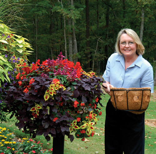 "Kinsman Pamela Crawford Border Column Kit with Post and 14"" Single Tier Planter Basket"
