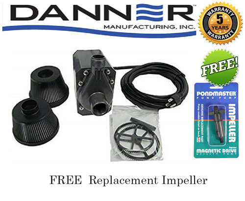 Pondmaster 1200 GPH Pond Pump w/18ft' Cord 02722 Bonus Free Replacement Impeller