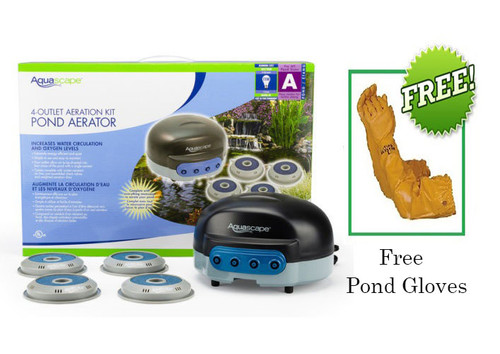 Aquascape Pond Air 4 Pond Aerator 75001 Plus FREE Atlas Pond Gloves