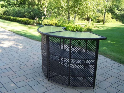 Oakland Living Elite Resin Wicker Patio Home Curved Bar OAA1904