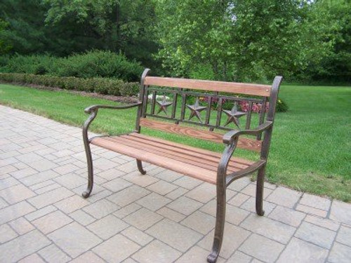 Oakland Living Triple Star Metal and Wood Park Bench