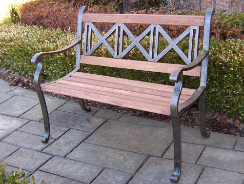 Oakland Living Triple Cross Wood and Metal Park Bench