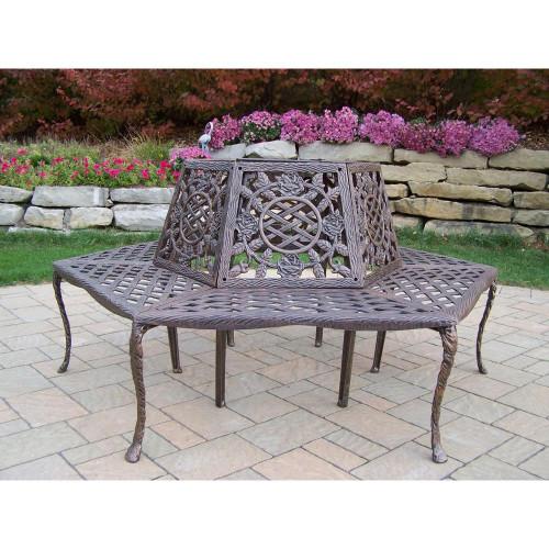 Oakland Living Tea Rose Aluminum Tree Bench