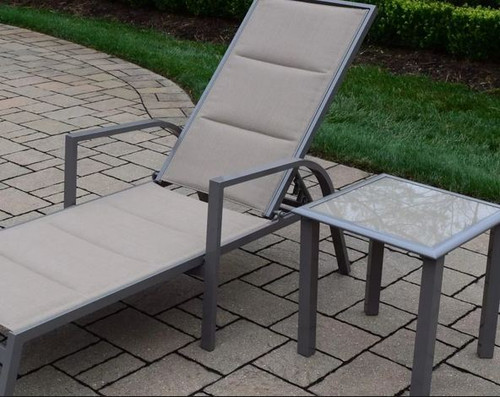 Oakland Living 2 Piece Padded Sling Chaise Lounge and Table Set