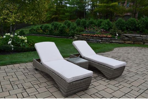 Oakland Living 3 Piece Outdoor Chaise Lounge with Cushion