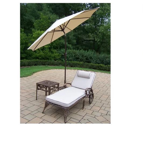 Oakland Living Mississippi 3 Piece Chaise Lounge Set with Cushion, Table and Umbrella