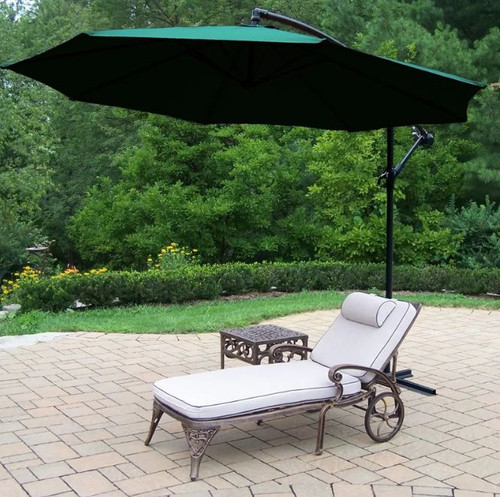 Oakland Living 3 Piece Outdoor Chaise Lounge with Cushion. Table and Green Cantilever Umbrella
