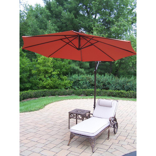 Oakland Living 3 Piece Outdoor Chaise Lounge with Cushion. Table and Burnt Orange Cantilever Umbrella