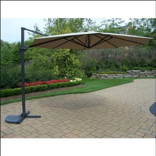 Oakland Living Beige 11 Foot Cantilever Umbrella with Crank & Tilt Function