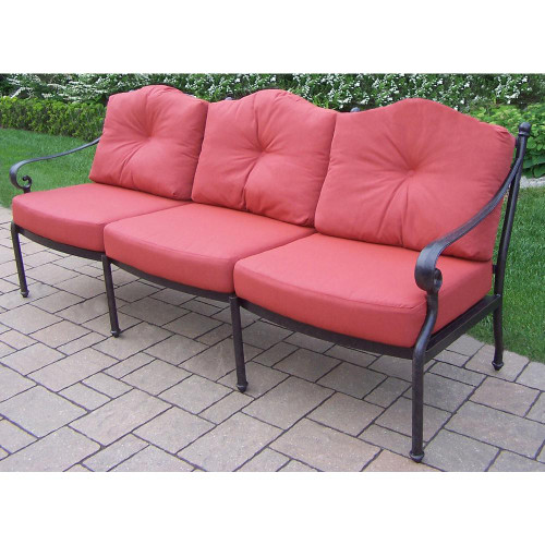 Oakland Living Berkley Deep Seating Sofa with Red Cushions