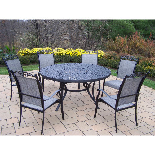 Oakland Living Black Mississippi 7 Piece Sling Outdoor Patio Dining Set