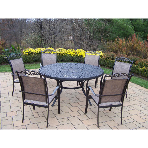 Oakland Living Coffee Mississippi 7 Piece Sling Outdoor Patio Dining Set