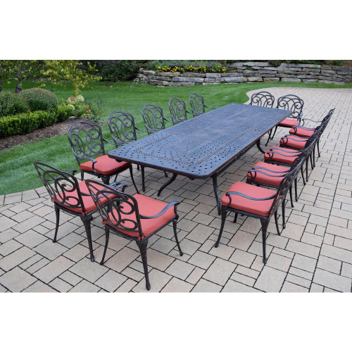 Oakland Living 15-Piece Aluminum Outdoor Dining Set with Red Cushions