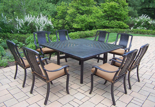 Oakland Living Vanguard 9 Piece Outdoor Patio Dining Set with Cushions