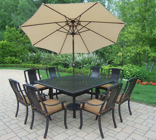 Oakland Living Vanguard 11 Piece Dining Set with Cushions and Umbrella