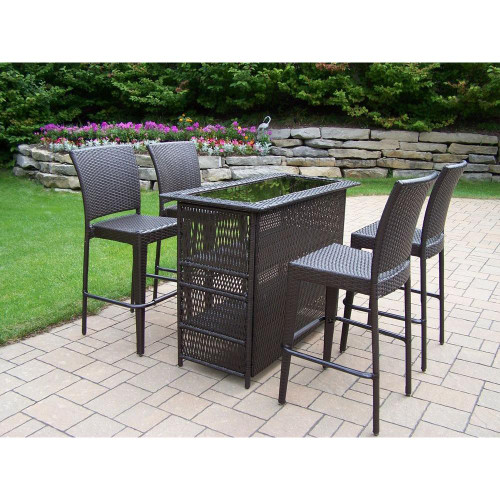 Oakland Living Elite 5 Piece Bar Height Outdoor Patio Dining Set