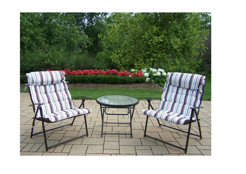 Oakland Living Effortless 3 Piece Folding Outdoor Patio Bistro Set with Cushions