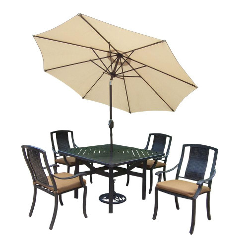 Oakland Living Vanguard 7-Piece Square Aluminum Patio Dining Set with Cushions and Umbrella(2 Color Options)