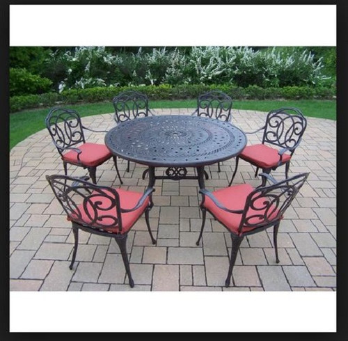 Oakland Living Berkley 7 Piece Outdoor Patio Dining Set with Red Cushions