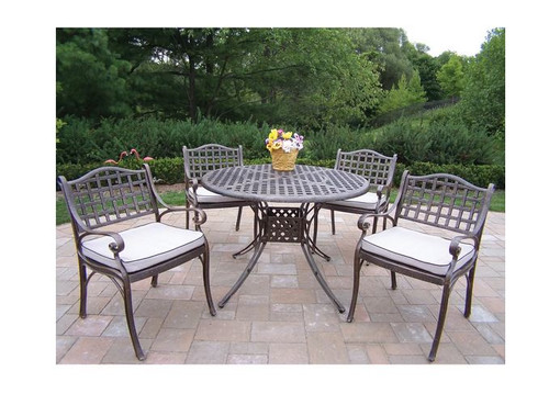 Oakland Living Elite 5 Piece Outdoor Patio Dining Set with Cushions