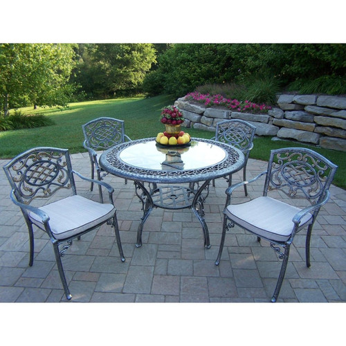 Oakland Living Mississippi  5 Piece Outdoor Patio Dining Set with Cushions