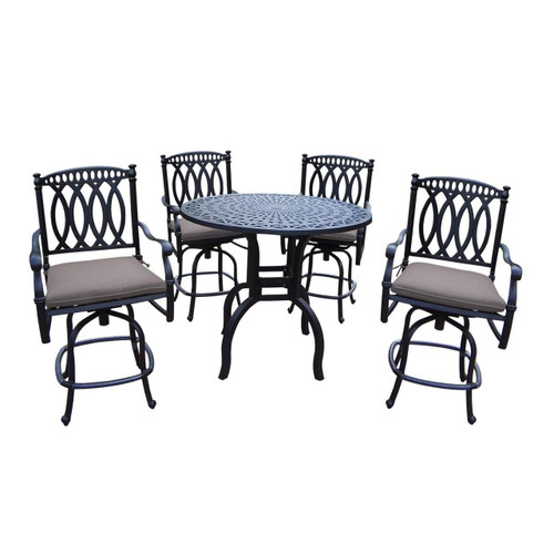 Oakland Living Morocco 5 Piece Aluminum Counter Height Outdoor Bar Set with Cushions