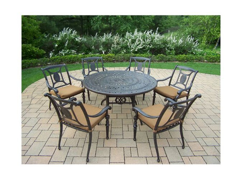 Oakland Living Victoria 7 Piece Outdoor Dining Set with Cushions